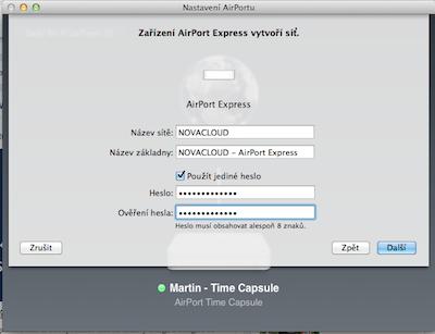 Vytvoření nové sítě u AirPort Express